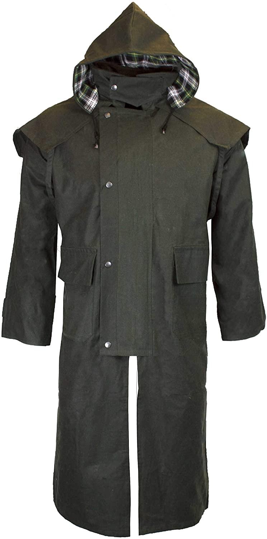 Walker & Hawkes - Unisex Waxed Long Cape Stockman Hooded Coat