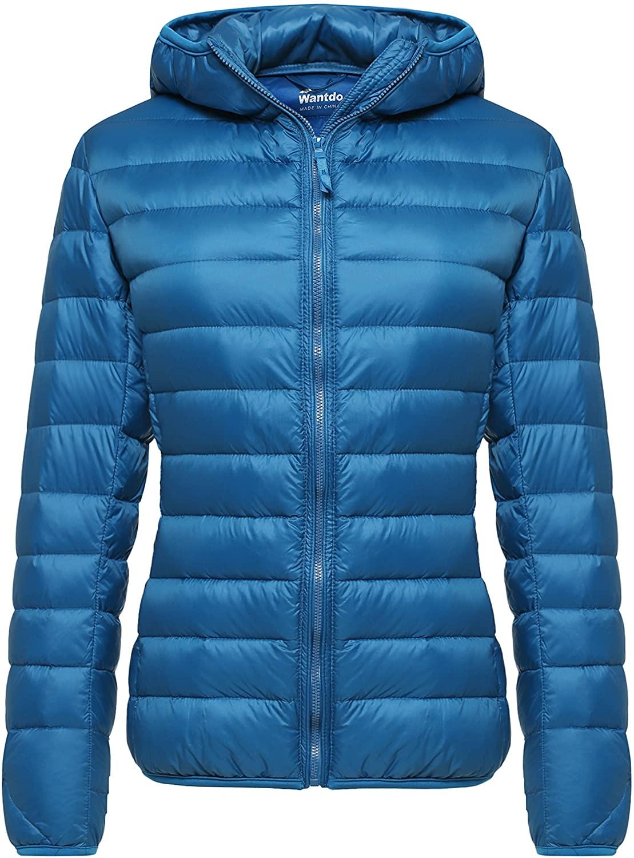 Wantdo Women's Down Jackets Winter Packable Lightweight Hooded Puffer Coat Windproof Mountain Insulated Jacket Hooded Slim Fit Short Outerwear Jacket