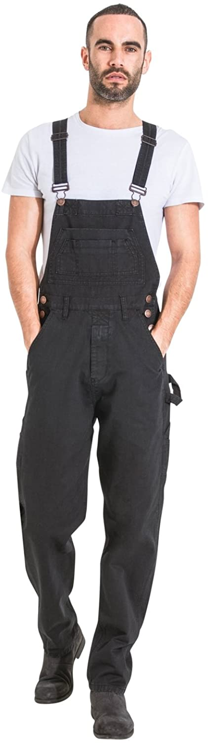 Wash Clothing Company Mens Relaxed Fit Denim Dungarees - Black Value Bib Overalls
