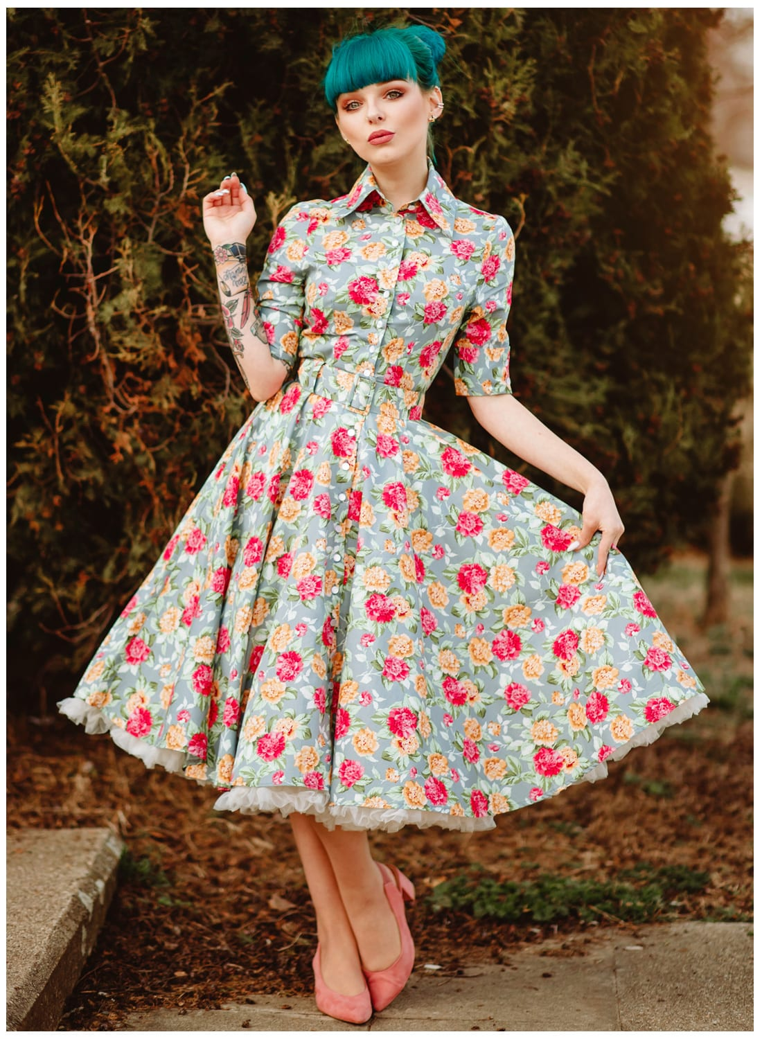 'Way Out West' Garden Floral 50s Swing Dress