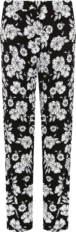 WearAll Women's Plus Floral Trousers Ladies Print Elasticated Waist Full Length Pants 14-28