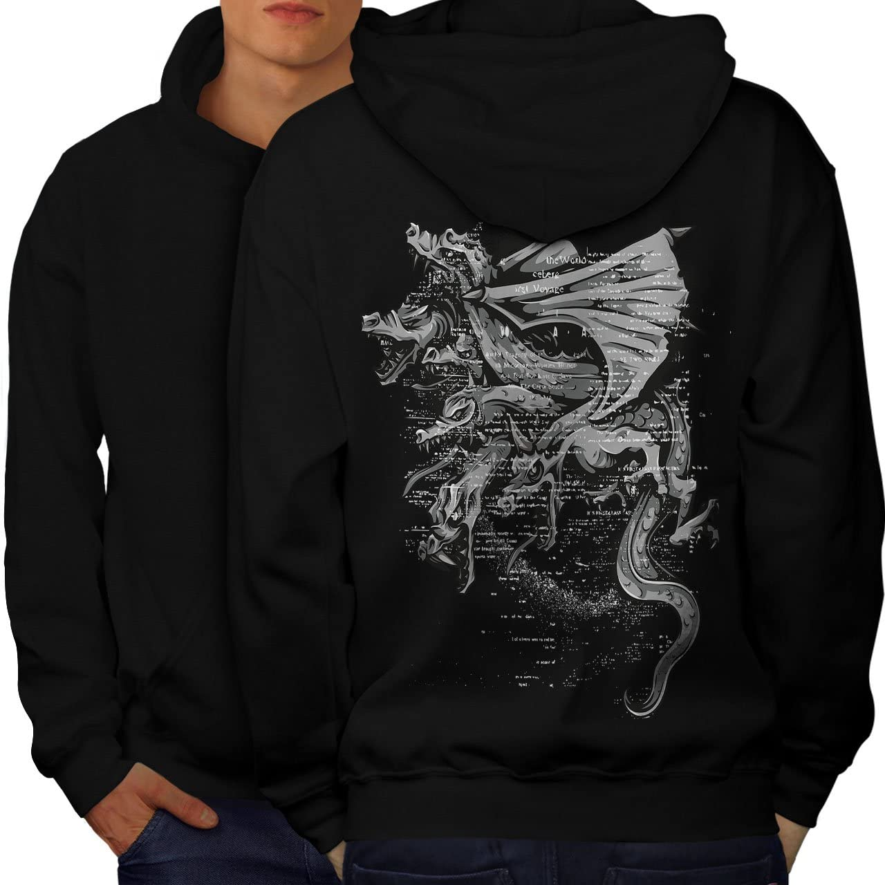 Wellcoda Dragon Gang Mob Crew Mens Hoodie, Fantasy Design on The Jumpers Back