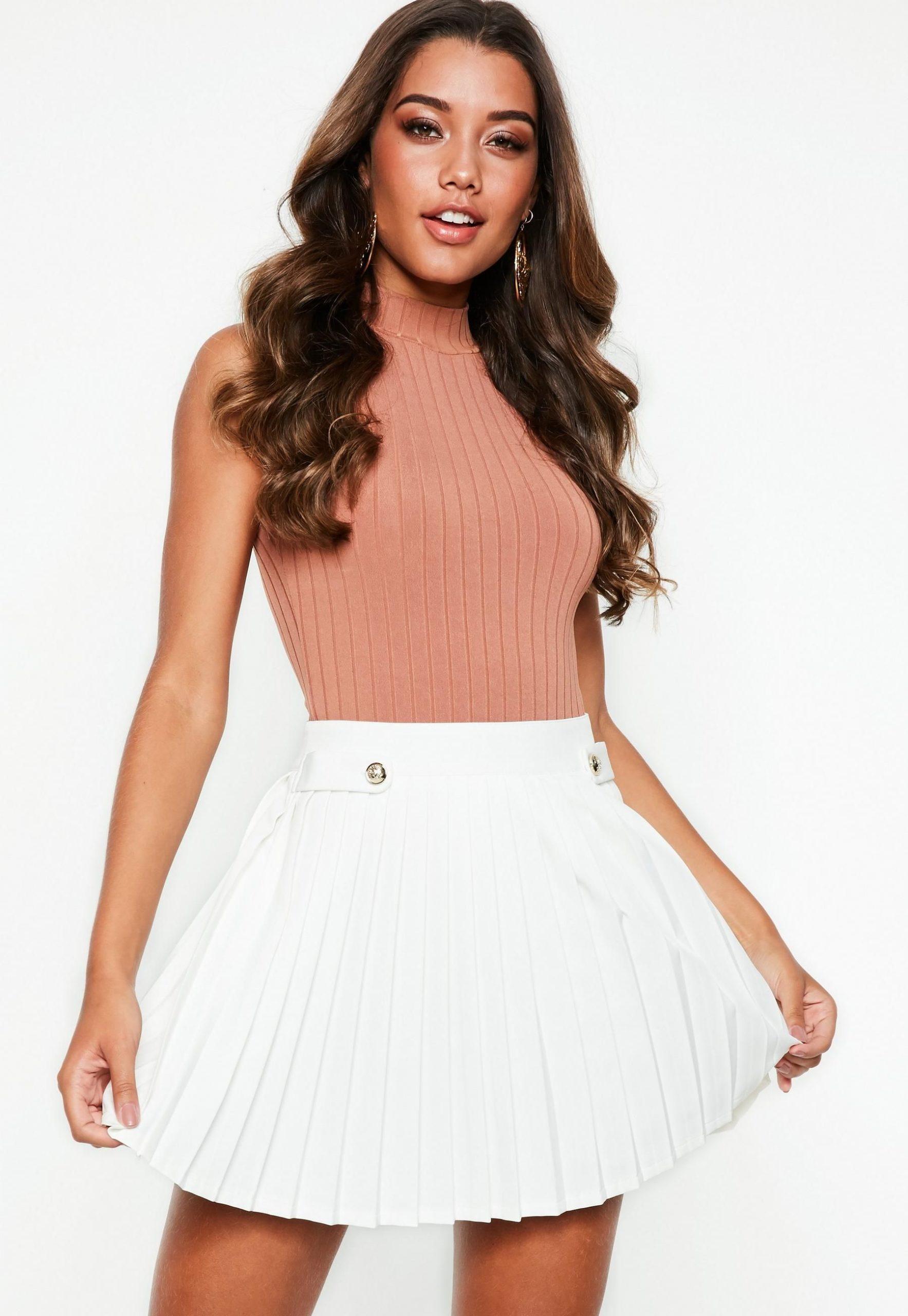 White Pleated Military Button Mini Skirt