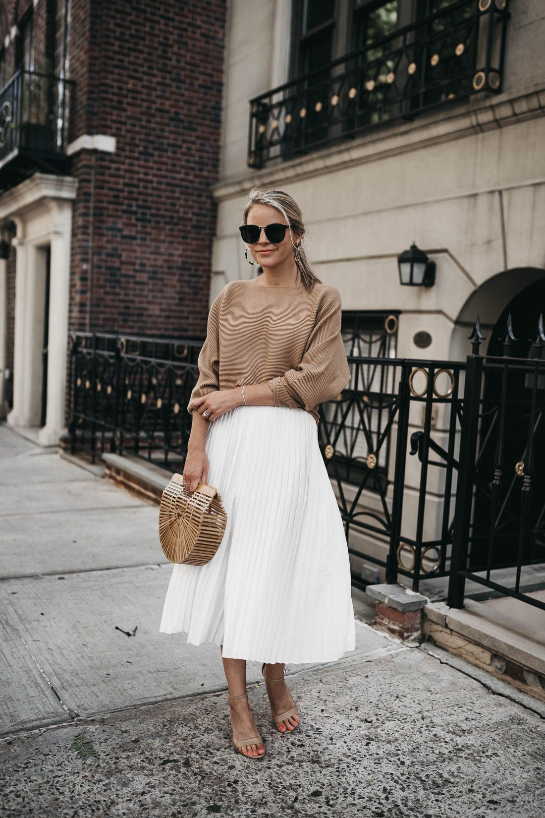 White Pleated Skirt and Totes