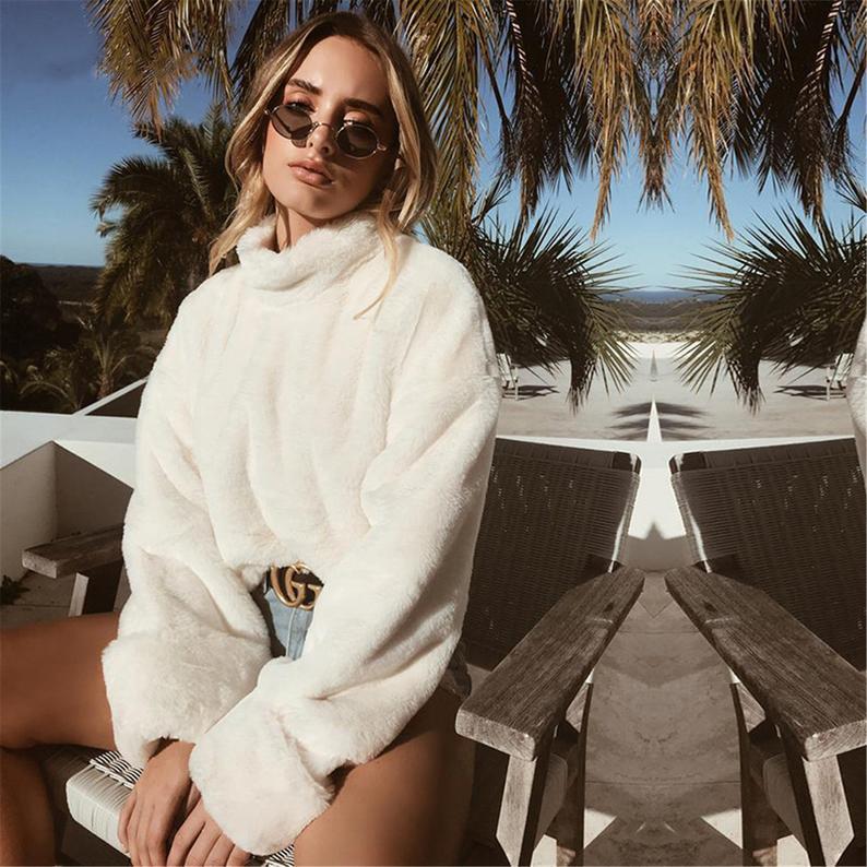 White Plush Winter Turtleneck Sweater Women Autumn Faux Fur Loose Casual Soft Warm Fluffy Oversized Sweater