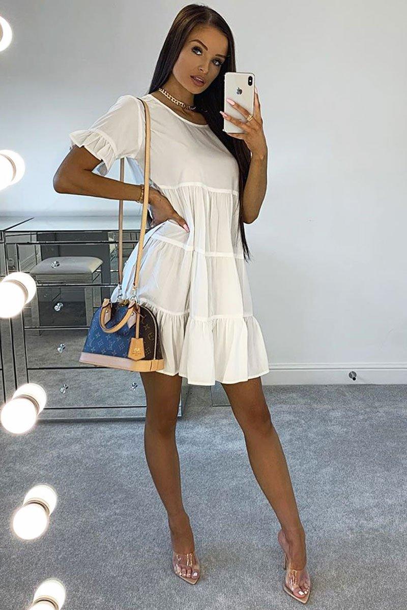 White Smock Tiered Frill Sleeve Mini Dress - Olah