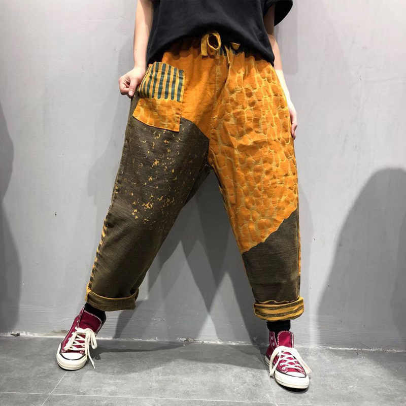 Wide Leg printed Harem Pants Cotton Big Drop Crotch