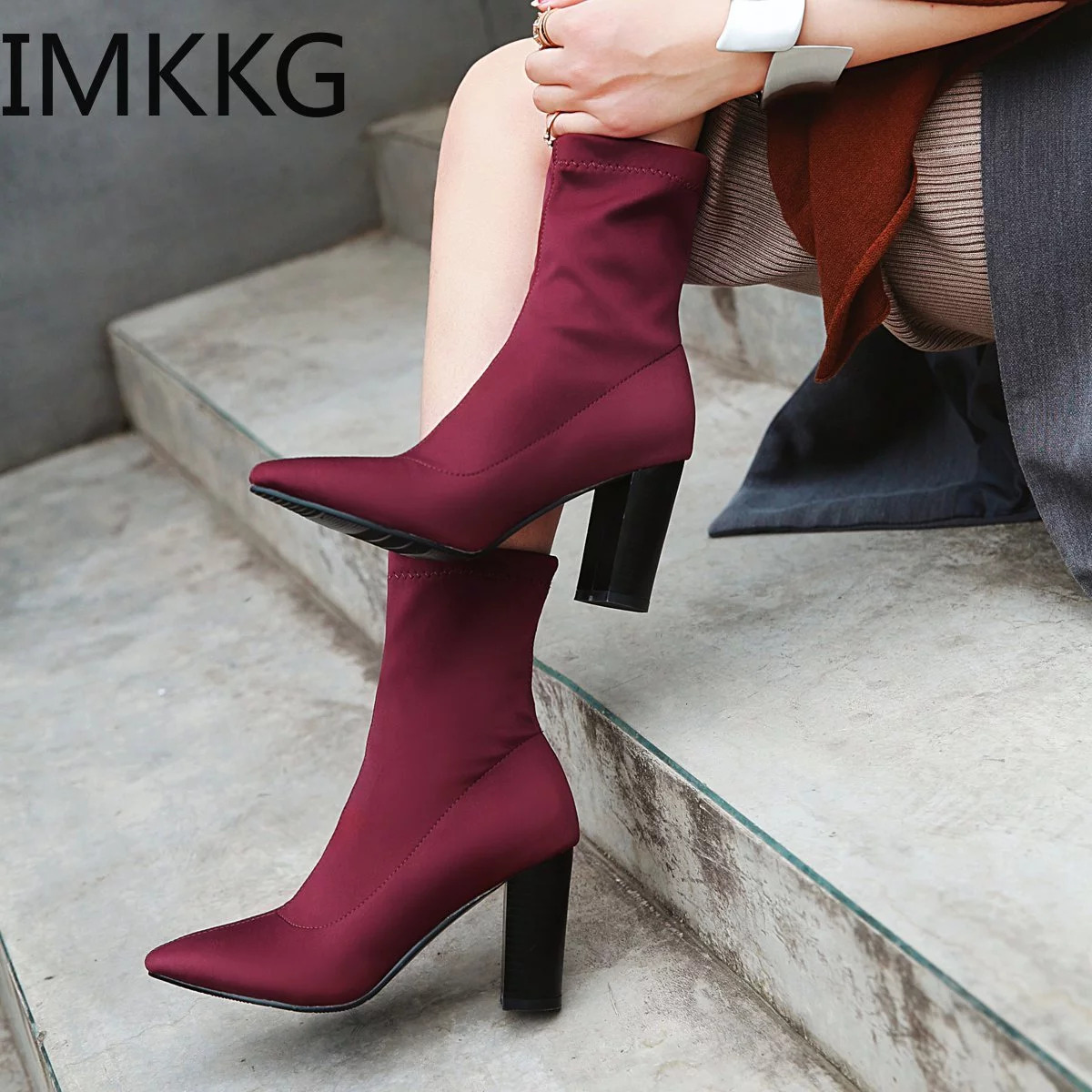 Women Ankle Boots Sock Boots All Match Platform Pointed Toe Square