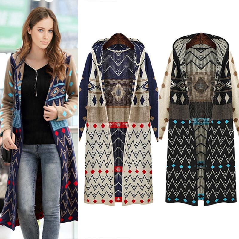 Women Autumn Winter Long Hooded Cardigan Geometric Pattern Knitted Loose Outwear