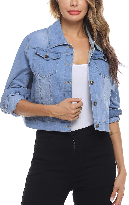 Women Basic Denim cropped Jacket