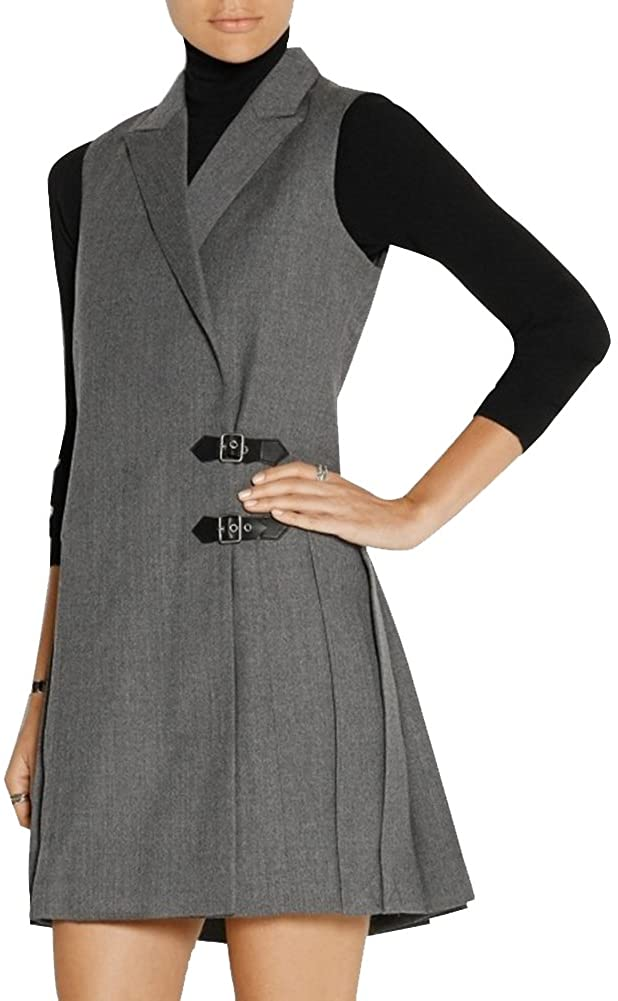 Women Casual Business Office Long Wasitcoat Sleeveless Blazer