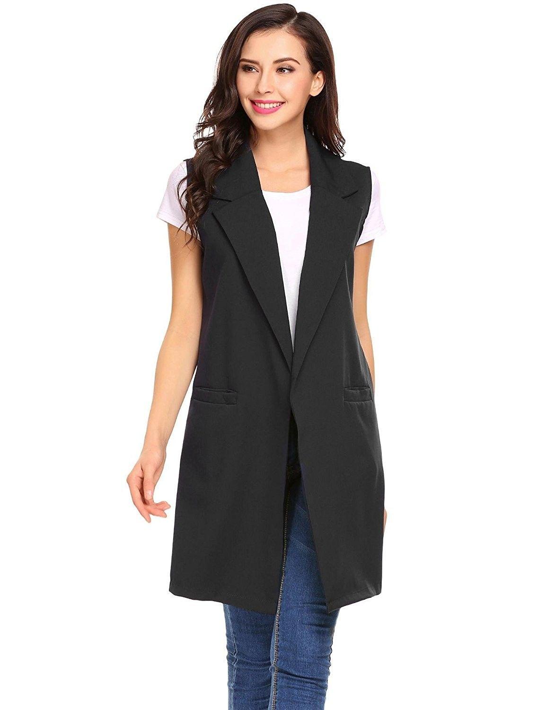 Women Fashion Open Front Long Sleeveless Blazer