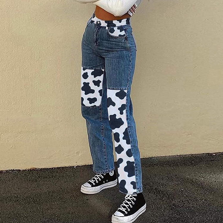 Women Mid Waist Straight Leg Jeans Harajuku Milk Cow Print Patchwork Denim Pants