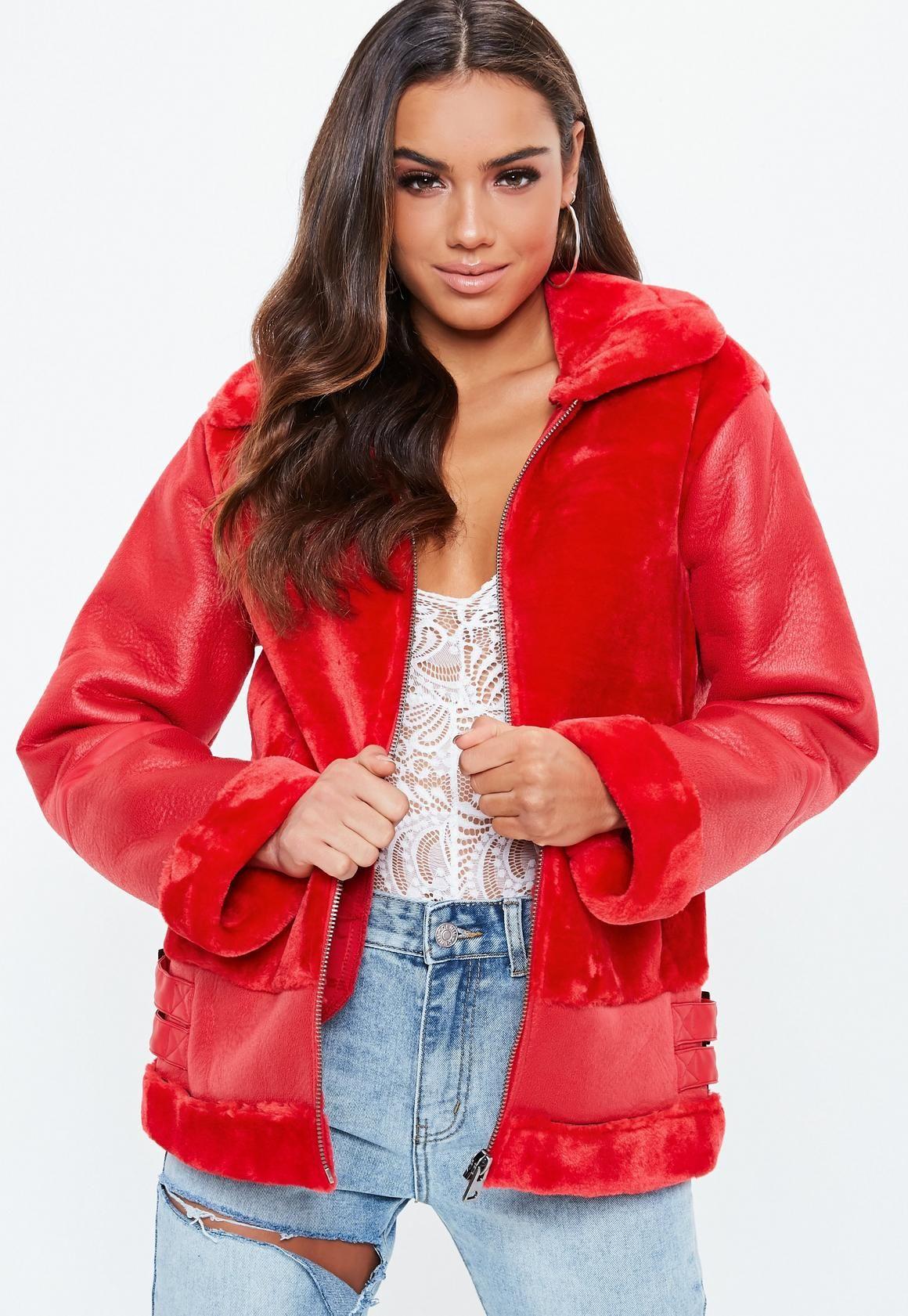 Red Aviator Jacket for women