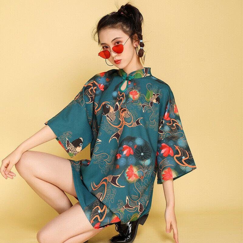 Women Shift Dress Mandarin Collar Retro Ethnic Loose Qipao Short Novelty Retro