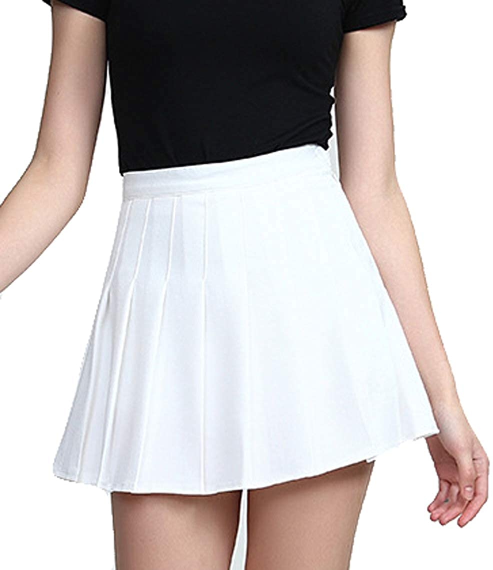 Women Short High Waist Pleated Skater Tennis School Skirt Uniform Mini Skirts with Inner Shorts