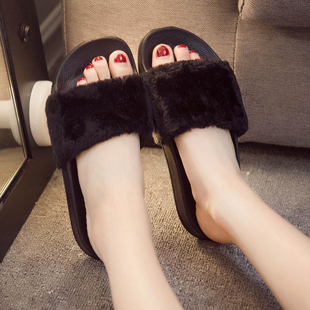Women Slip On Sliders Fluffy Faux Fur