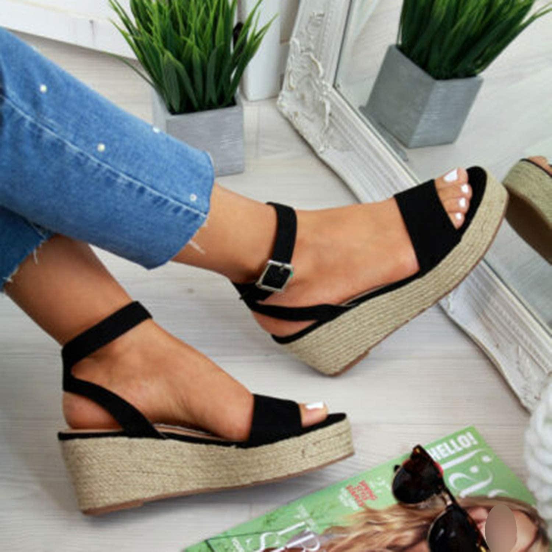 Women Wedge Heel Sandals Summer Wedding Party High Heels Casual Platform Heels Open