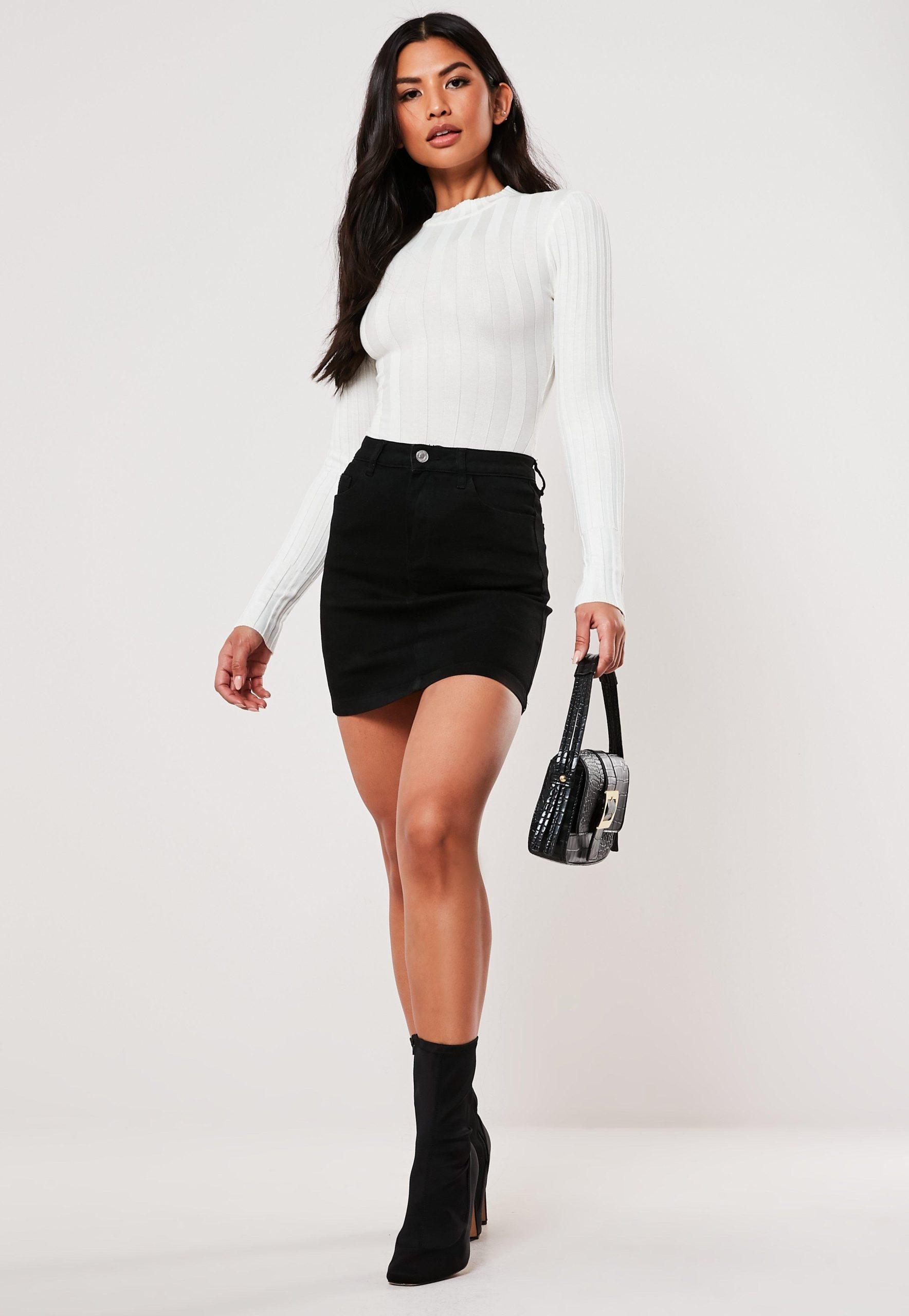 Women's Black Denim Superstretch Mini Skirt