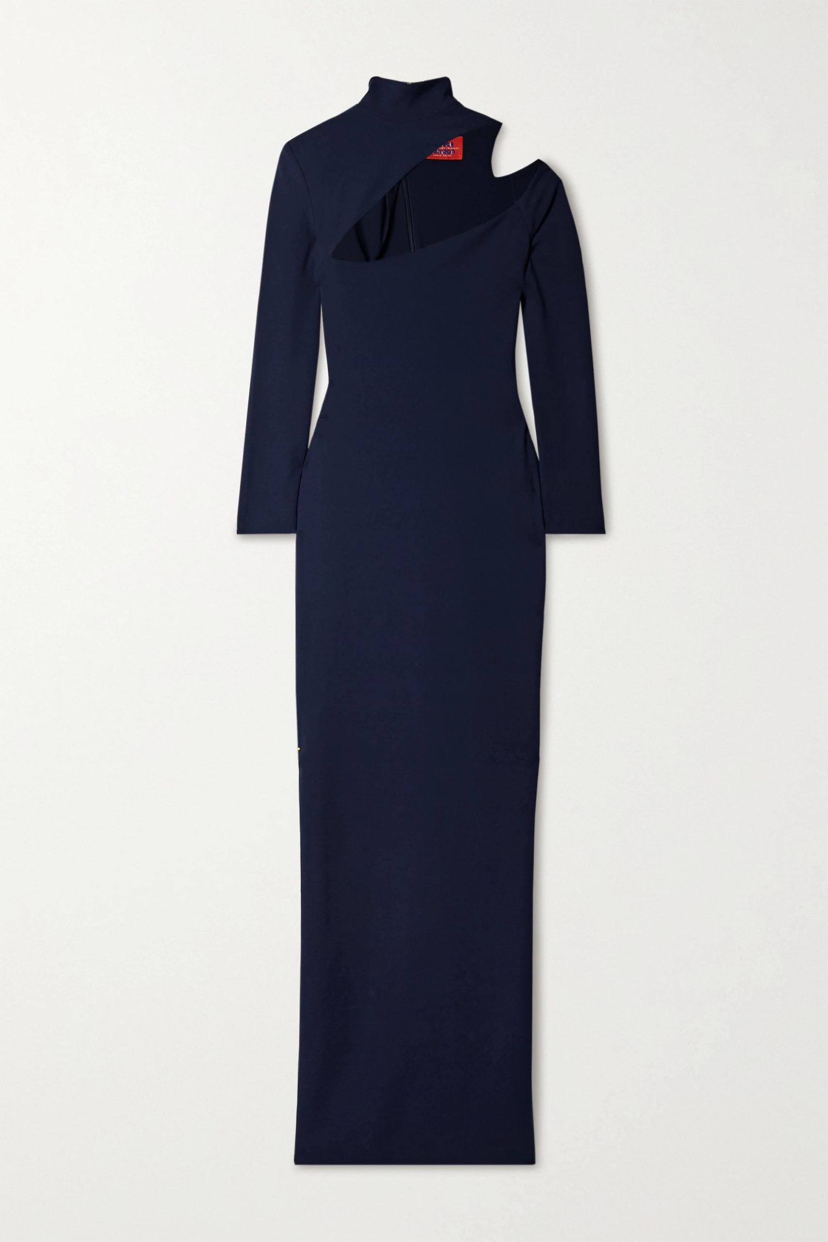 Women's Blue Ares Cutout Cady Turtleneck Maxi Dress