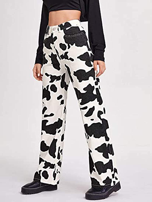 Women's Cow Printed Colorblock Jeans High Waist Loose Straight Leg Denim Pants