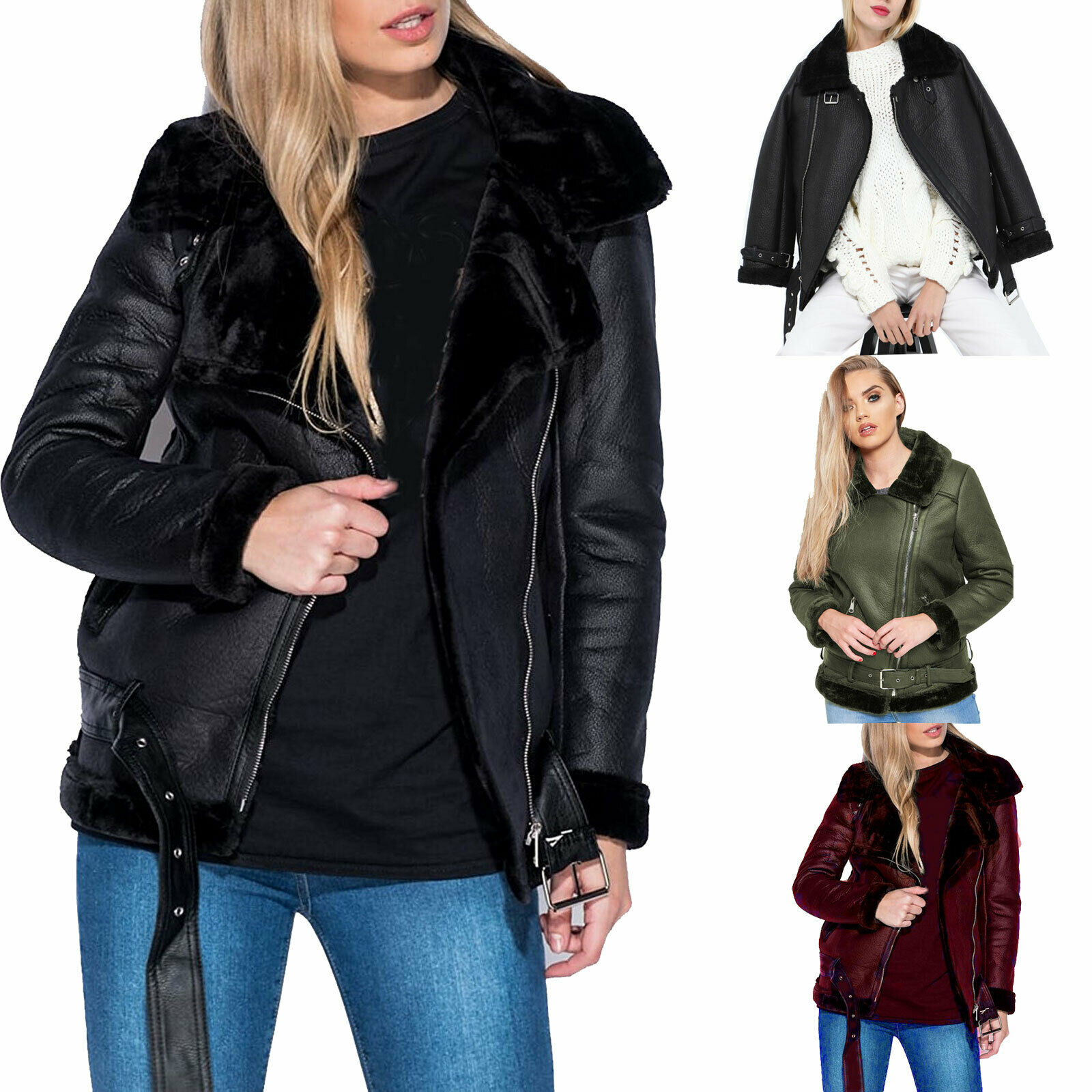 Women's Faux Leather Aviator Faux Fur Lined Belted Shearling Ladies Jacket Coat