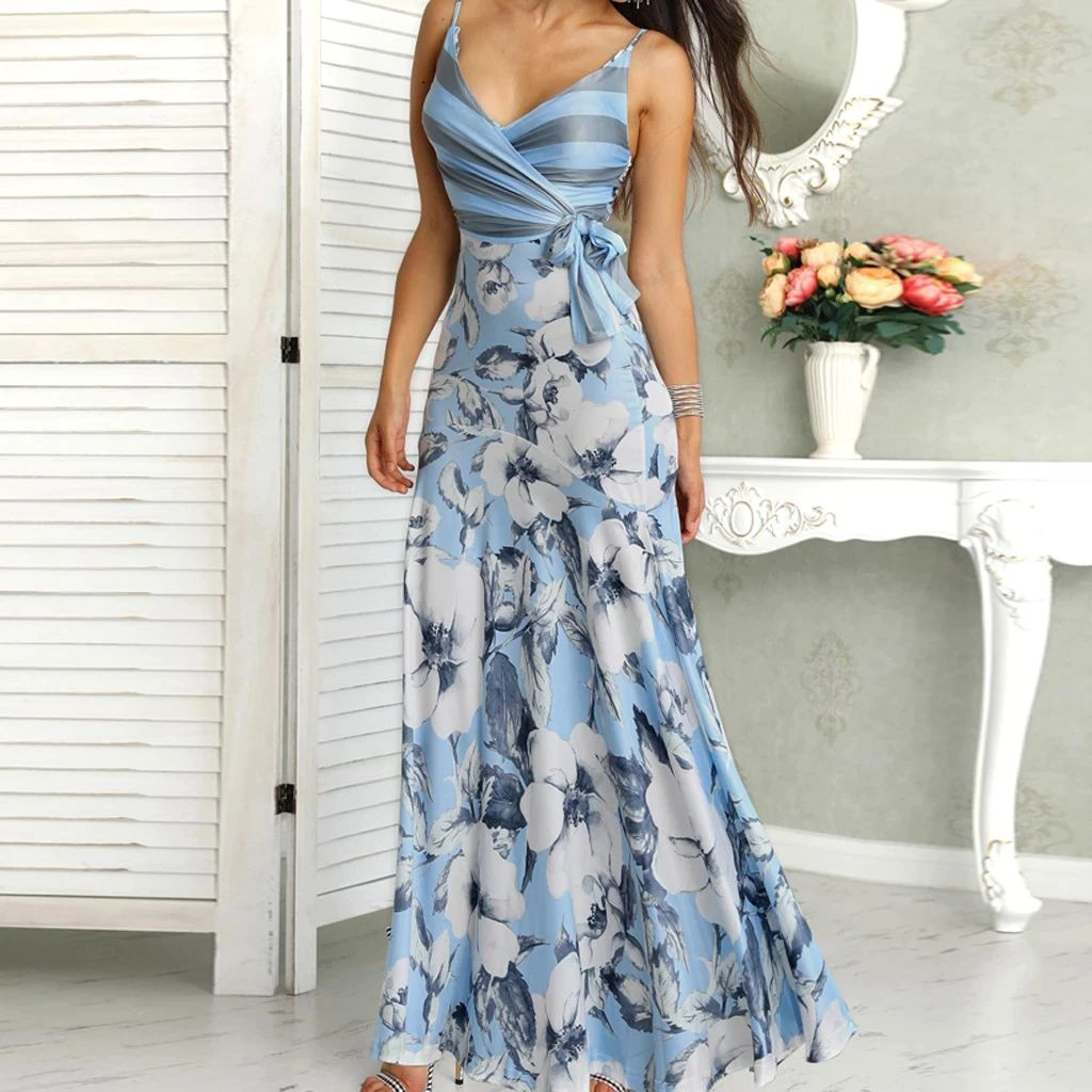 Women's Floral Print Maxi Dress, Vintage, Sexy, Bohemian, Floral Print, Wrapped, Tie Side, Fit & Flare, Summer, Casual