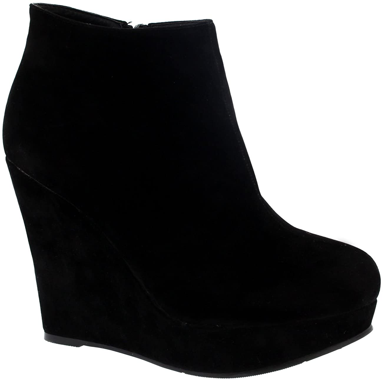 Womens High Wedge Heel Ankle Boot Platform Zipper Black Party Shoes Boots