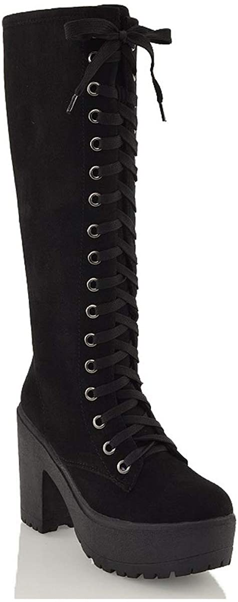 Womens Lace Up Mid Knee High Boots Ladies Cleated Chunky Block Platform Goth Combat Biker Lace Up Black Boots