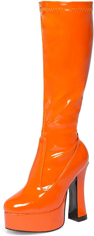 Womens Ladies Mens Knee High Platform Disco GoGo Fancydress Boots