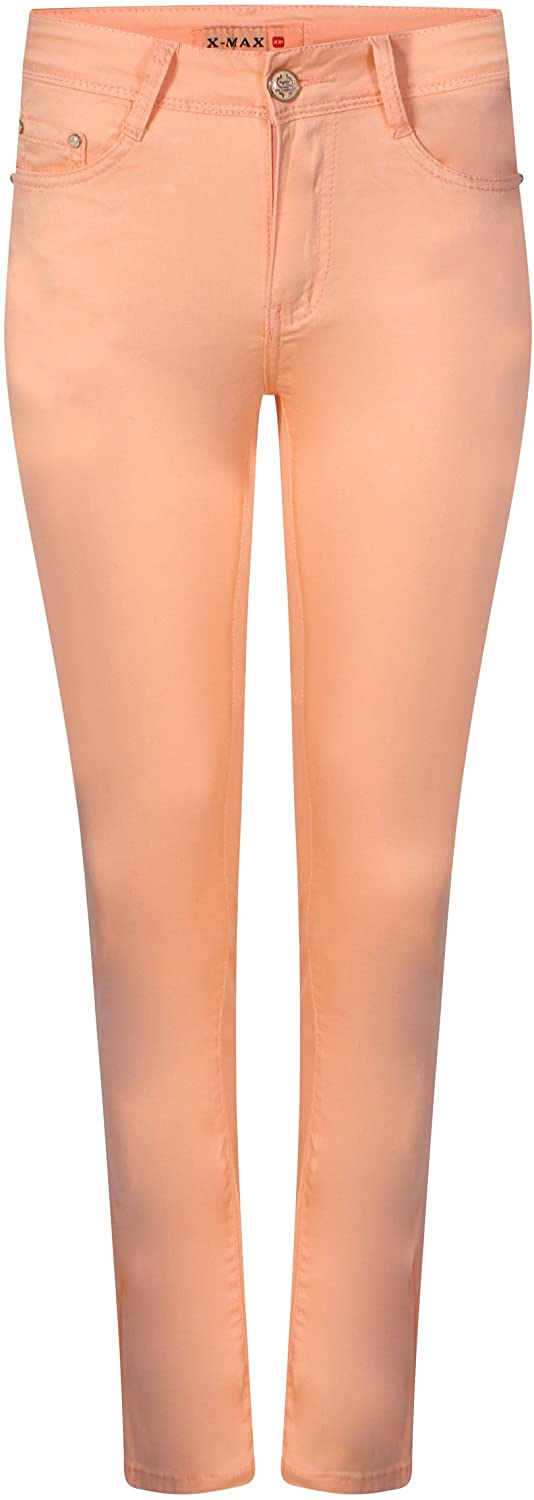 Women's Ladies Skinny Stretch Jeans In PASTEL GREEN AND ORANGE 6 8 10 12 14 (UK Sizes)