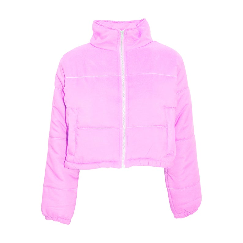 Womens Ladies Thick Puffer Bubble Warm Padded Quilted Cropped Zipper Jacket Coat