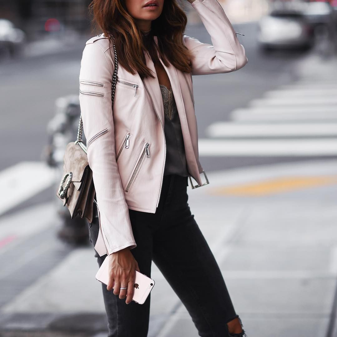 Womens Leather Aviator Jacket