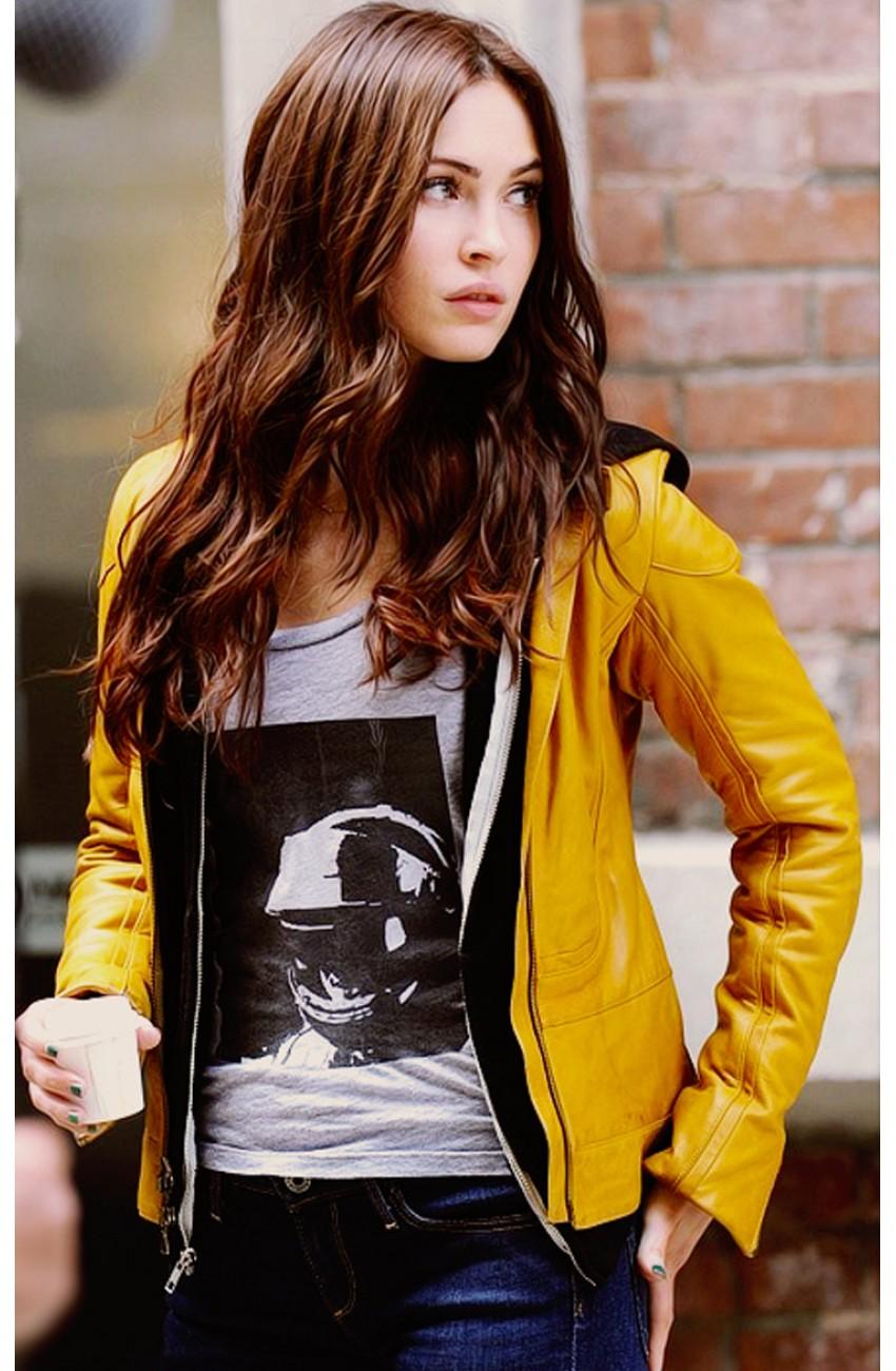 Womens Leather Aviator Jacket Yellow