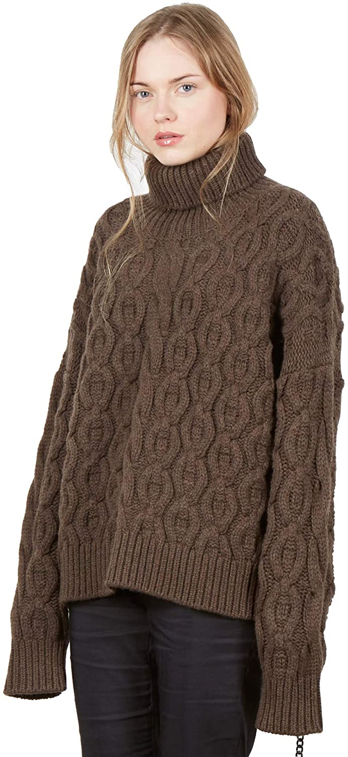 Women's Merino & Cashmere roll Neck Oversize Jumper Color Brown