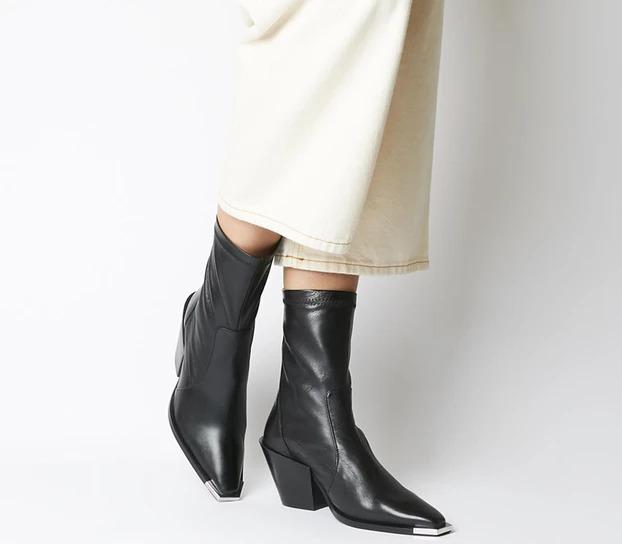 Womens Office Ashen Western Sock Boot Black Leather