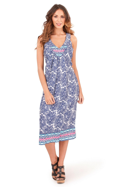 Womens Paisley Patterned V Neck Sleeveless Vibrant Summer Swing Dress