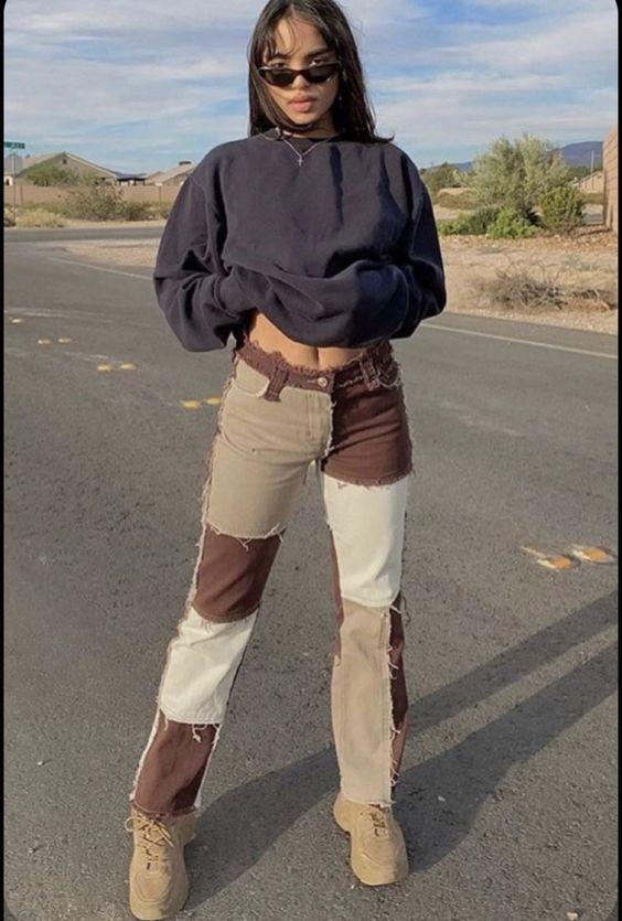Women's Patchwork Jeans High Waist