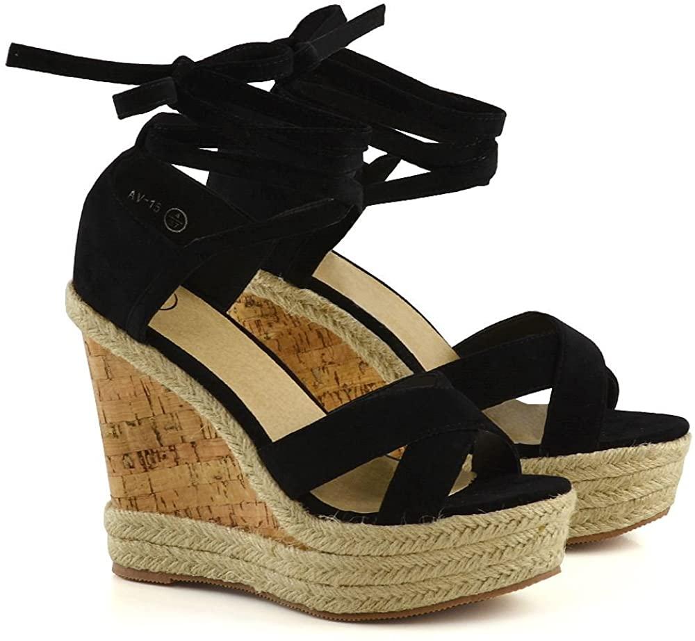Womens Platform Wedge Heel Espadrilles Sandals Lace Tie Up Ladies Summer Strappy Shoes Size 3-8