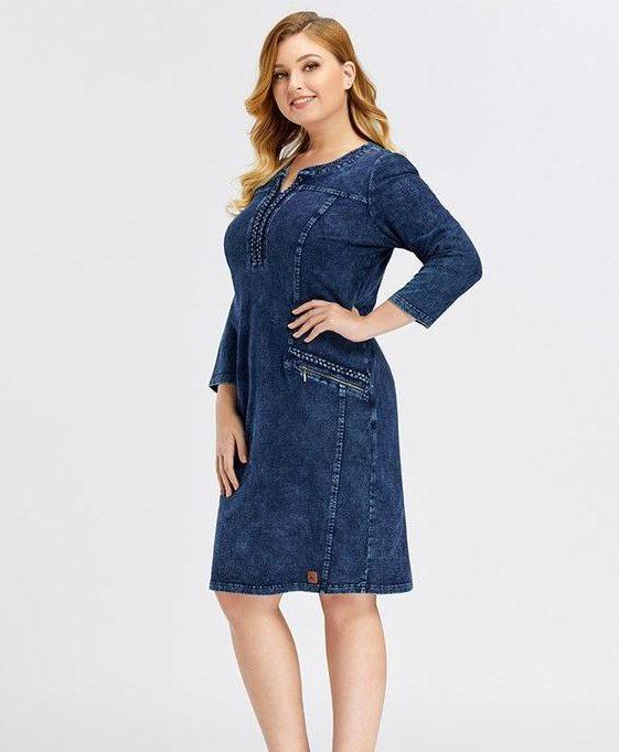 Women's Plus Size Denim Midi Dress