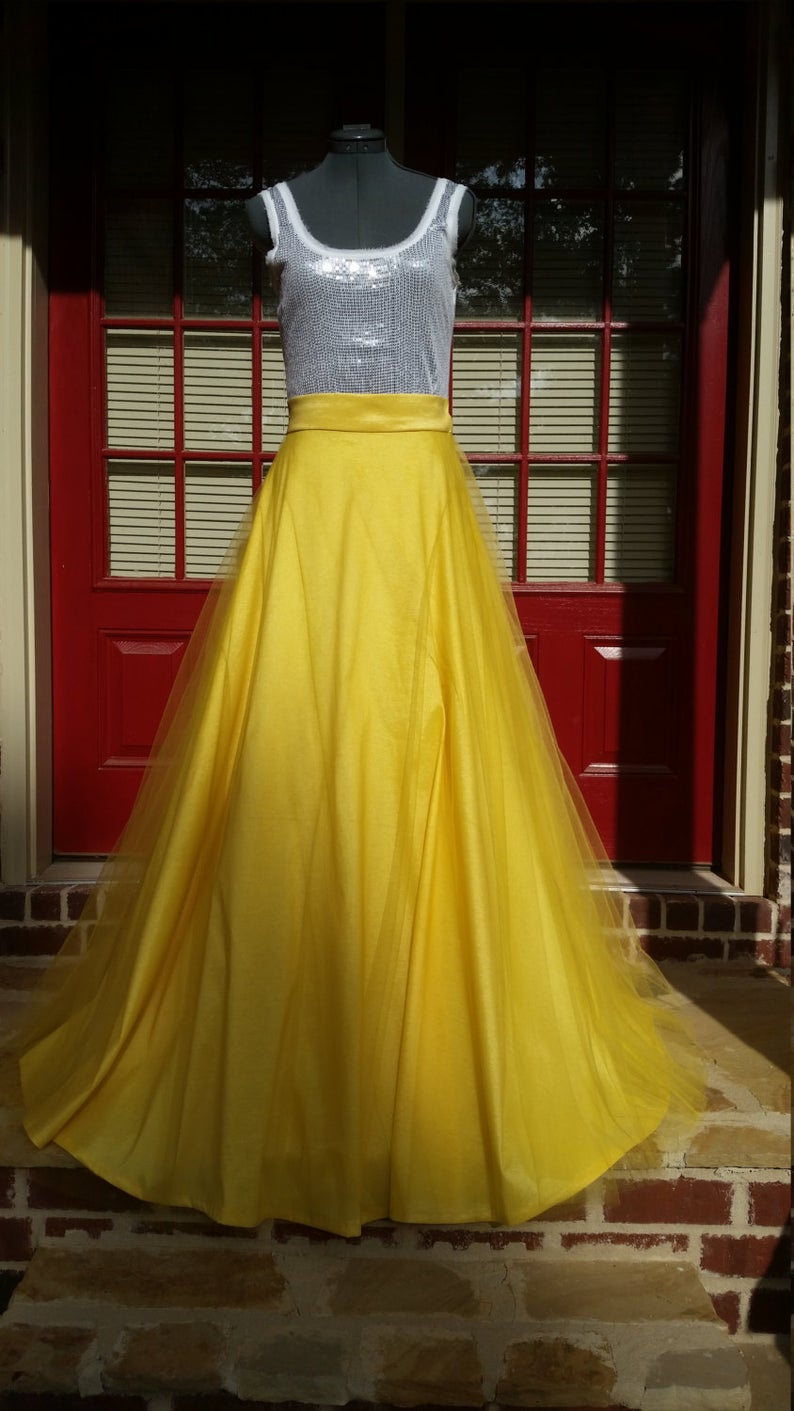 Women's Skirt- Yellow Satin Maxi Skirt- Full Skirt -Satin with Tulle Skirt- Floor Length Skirt - Swing Skirt- Custom Made