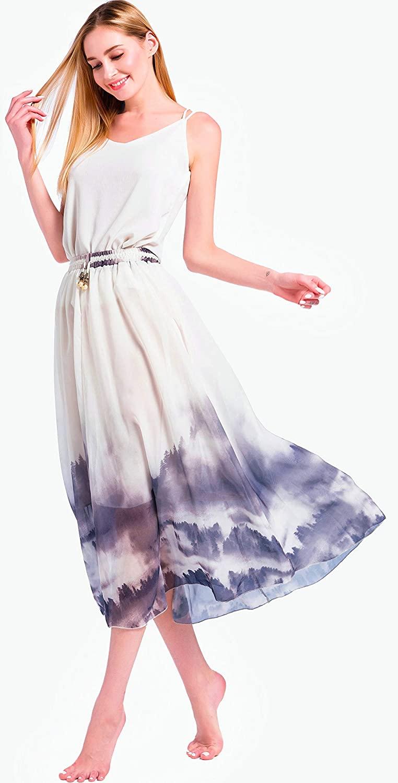 Womens Summer Long Pleated Beach Skirt