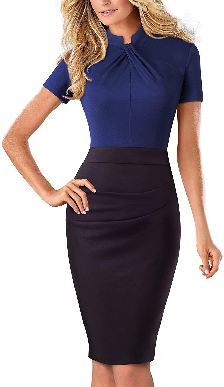 Women's Vintage Stand Collar Short Sleeve Pencil Dress