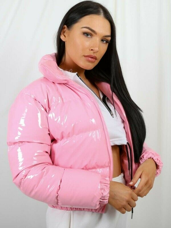Womens Vinyl Thick Puffer Padded Quilted Cropped PVC Shiny Jacket Coat UK Wet