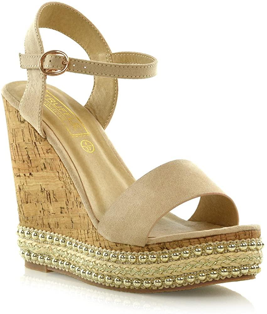 Womens Wedge Platform Heel Espadrilles Cork Sandals