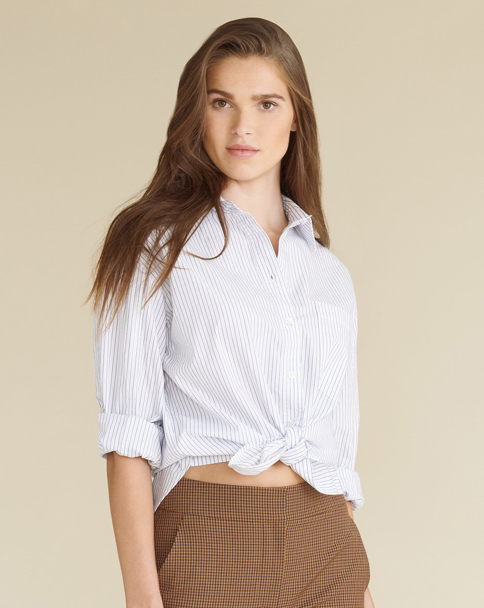 Women's White Keiko Striped Button-down Shirt