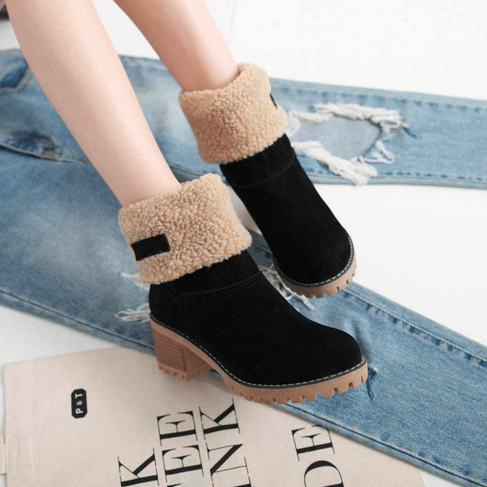Women's Winter Snow Boots, Round Head Warm Suede Chunky Heel Fur Lined Square Heel Outdoor Winter Ankle Boots