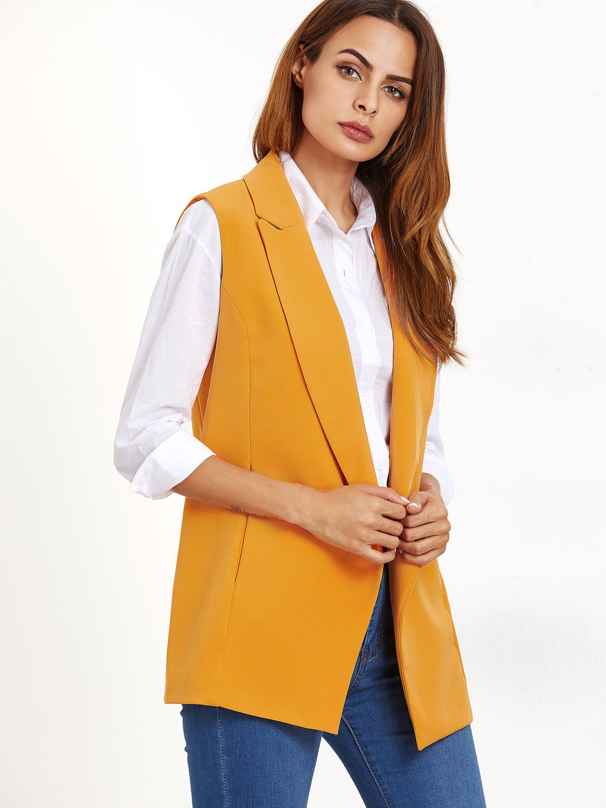 Women's Yellow Double Breasted Sleeveless Blazer
