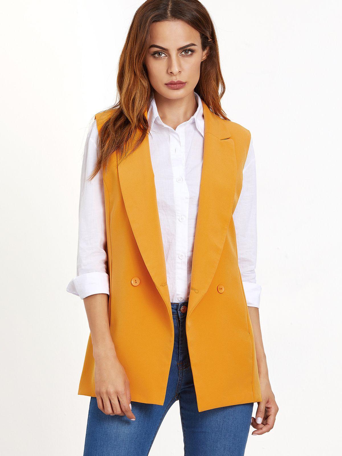 Womens Yellow Double Breasted Sleeveless Blazer
