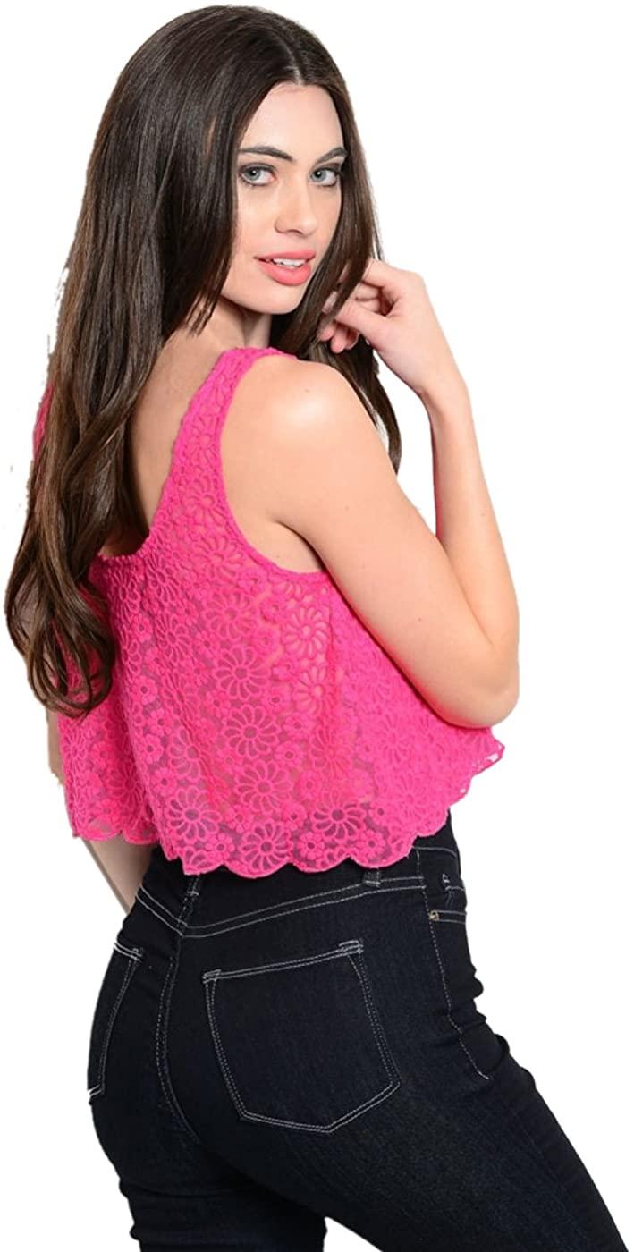 Women'sSleeveless Crochet Lace Crop Top